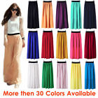XL Women Double Layer Chiffon Pleated Retro Long Maxi Dress Elastic Waist Skirt