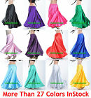 2XL Women Lady Satin Full Circle Belly Dance Skirt Costume Tribal Gypsy 27 Color