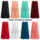M Women Lady Pleated Chiffon Retro Long Skirt Full Circle Skirt | 25 Colors