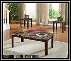 Faux Marble 3 PC Coffee End Tables Set Table Finish Living Room Solid Wood NEW