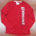 Aeropostale Mens Shirt Thermal Embellished Aero Red Long Sleeve Shirt New V097
