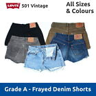 Vintage Grade A Levis 501 High Waisted Denim Cut Off Jean Shorts 6 8 10 12 14 16