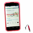 TPU Gel Rubber S Wave Case Stand Cover For Google Nexus 4 LG E960 +Stylus R