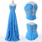FREE SHIP BLUE Formal Prom Ball Gown Evening Homecoming Party Bridesmaid Dresses