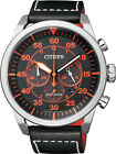 Citizen Eco-Drive Chronograph Black Orange 100m Sports Leather Watch CA4210-08E