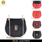 CHAIN LOCK SADDLE BAG GENUINE LEATHER Women's Designer Fashion Shoulder Handbag