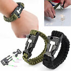 Survival Bracelet Paracord Whistle Gear Flint Fire Starter Scraper Kits Outdoor
