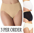 3 PACK Bali 24A2 No Lines No Slip Tailored Hi-Cut Panty Brief Underwear M-3XL
