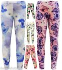 Girls Leggings Cat Floral Footless Long Full Length Trousers Pants 4 Sizes 7-13
