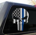 Punisher Skull American Flag Police Blue Line Decal Sticker Graphic - 3 Sizes