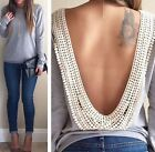 2015 Womens Fashion Size Loose Backless Long Sleeve T Shirt Casual Blouse Top