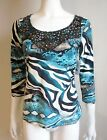 NWT STRETCH TEAL ZEBRA PRINT TOP Embellished Neck BLOUSE SHIRT Polyester $60