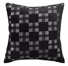 mq07a Silver Metallic Black Checker Shimmer Velvet Style Cushion Cover Case Szie