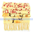 Light Yellow White 2 Colors 100% Wool Scarf/Shawl Flowers Scarves Wraps | FJUS