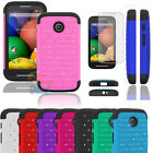 Bling Crystal Rugged Rubber Hard Protective Case Cover For Motorola Moto E +Film