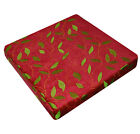 wh03t Red,Lime Leaf Embroidered Chenille 3D Box Sofa Seat Cushion COVER*Cus*Size