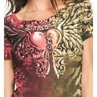 Sinful AFFLICTION Womens T-Shirt DEVIOUS ANGEL Heart Wings Tattoo Biker UFC $44