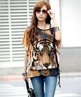 Fashion Women's Tiger Print Batwing Sleeve T-Shirt Casual Tops Blouses& Belt S