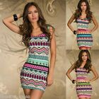Women Ladies Sleeveless Colorful Vintage Wave Print Bodycon Party Mini Dress