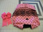 Pink Blk Dots Dog Female Diaper Panty Exchangeabl Bow Elastic Carols Crate Cover