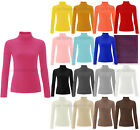 Womens Ribbed Polo Neck Top Ladies Cotton Turtle Neck Plain Top Sizes 8-20