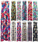 Ladies Shirred Floral Bandeau Maxi Dress Womens Strapless Boobtube Sizes UK 8-18