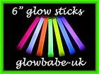 "5 x 6"" GLOWSTICKS NEON UV RAVE GLOW STICKS PARTY BAGS GLO STICKS 9 COLOURS"