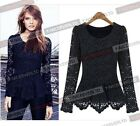 Lace Summer Casual Peplum Asymmetric Hem Women  Long Sleeve Top Blouse Shirt B45