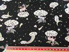 Unicorns pink lilac / Stars Hearts / BLACK 100% cotton Fabric material Childrens