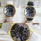 New Vintage Women Ladies Watch Lace Printed Analog Leather Wrist Watch Ornate