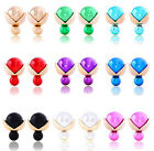 Hot Trendy New Candy Color Pearl Crystal Ball Double Side Studs Earrings 8Colors
