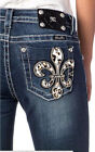 New! Miss Me Leopard Skin Jeans Dark Blue Denim Animal Pattern MP6277B Bootcut