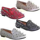 11199 Womens Flat Sole Spikes Pump Studd Spikey Diamante Loafer Embellished Slip