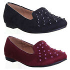 11706 Womens flat sole ballerina round toe slip on self coloured studded ladies