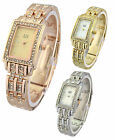 AN London Rectangular Shape Small Dial & Stone Set Metal Bracelet Ladies Watch