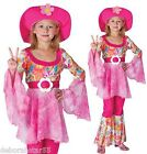 Girls Hippy Costume Pink 60s 70s Flower Power Fancy Dress Outfit & Hat 4-12 yrs