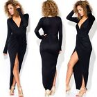 Figure Hugging Wrapped V-neck Front Slit Women Full Length Evening Party Dress