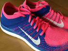 Genuine Wmns Nike Free 4.0 Flyknit Running Trainers - BLUE+PINK - UK4.5-6.5 -NEW