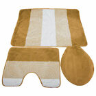 3 Piece Leaf Design Bath & Pedestal Bathroom Mat Set Toilet Cover UTBR187