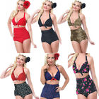 Women's Sexy Stretchable Retro Swimsuit High-Waist Beach Bathing Bikini Swimwear