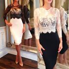 Sexy Women Fashion Lace Splicing Bodycon Cocktail OL Bussiness Pencil Dresses S