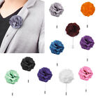 Men's Rose Flower Boutonniere Lapel Stick Brooch Pin Wedding Prom Party -Various