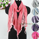 New Fashion Women's Tulle Lace Stitching Cotton With PomPom Tassel Oblong Scarf