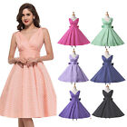 50's Vintage Dresses V Neck Rockabilly Retro Swing 50s 60s pinup Housewife Dress