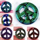 38mm Dichroic Foil Lampwork Glass Peace Sign Bead Pendant DIY Fit Necklace Gifts
