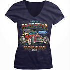 T-Bucket Roadster Ford Garage 1923 Classic Hot Rod Girls Junior V-Neck T-Shirt