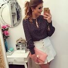 Office Clothing Fashion Ol Lady Women Work Wear Blouses Slim Blouses Dot Shirt S