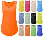 Womens Summer Gym Burn Out Racer Vest Ladies Casual Neon Loose Tank Top Plus8-26