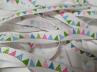 Grosgrain Ribbon Bertie`s Bows Brights Buntings on White 16mm BTB062
