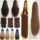 One piece long curly wavy Clip in hair extension dark light medium ash brown